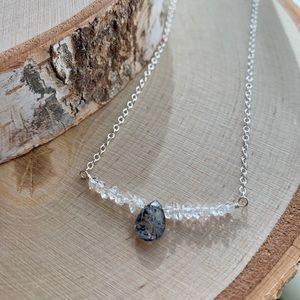 Jewelry - Black Rutile Quartz & Herkimer Quartz necklace.
